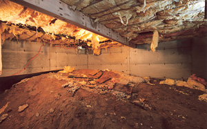 Crawl Space Moisture Barrier before in San Jose