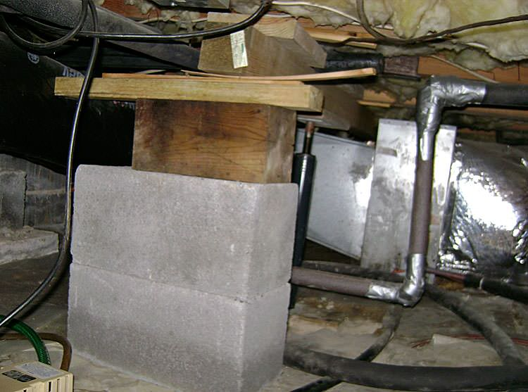 Sagging crawl space problems in california repairing for Concrete crawl space floor