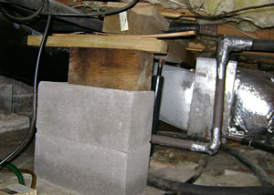 a poorly designed crawl space support system installed in a Daly City home