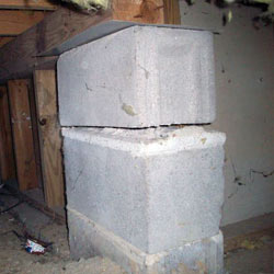 Collapsing crawl space support pillars Watsonville