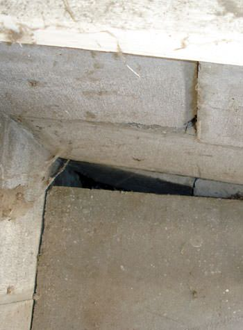 inward rotation of a foundation wall damaged by street creep in a garage in Antioch