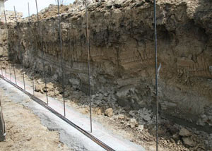 Soil layers exposed while excavating to construct a new foundation in Sunnyvale