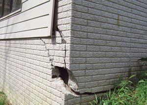 A severely damaged foundation wall in Roseville