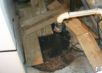 An ugly, clogged sump pump system in Modesto, California