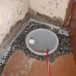 Installing a sump in a sump pump liner in a Sacramento home