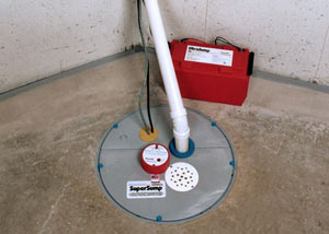A sump pump system with a battery backup system installed in Chico