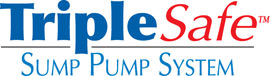 Sump pump system logo for our TripleSafe™, available in areas like Vacaville, Fairfield, Redding, Chico, Grass Valley, Citrus Heights, Suisun City, Yuba City, Roseville, Carmichael, Clovis