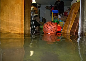 A flooded basement bedroom in Pittsburg